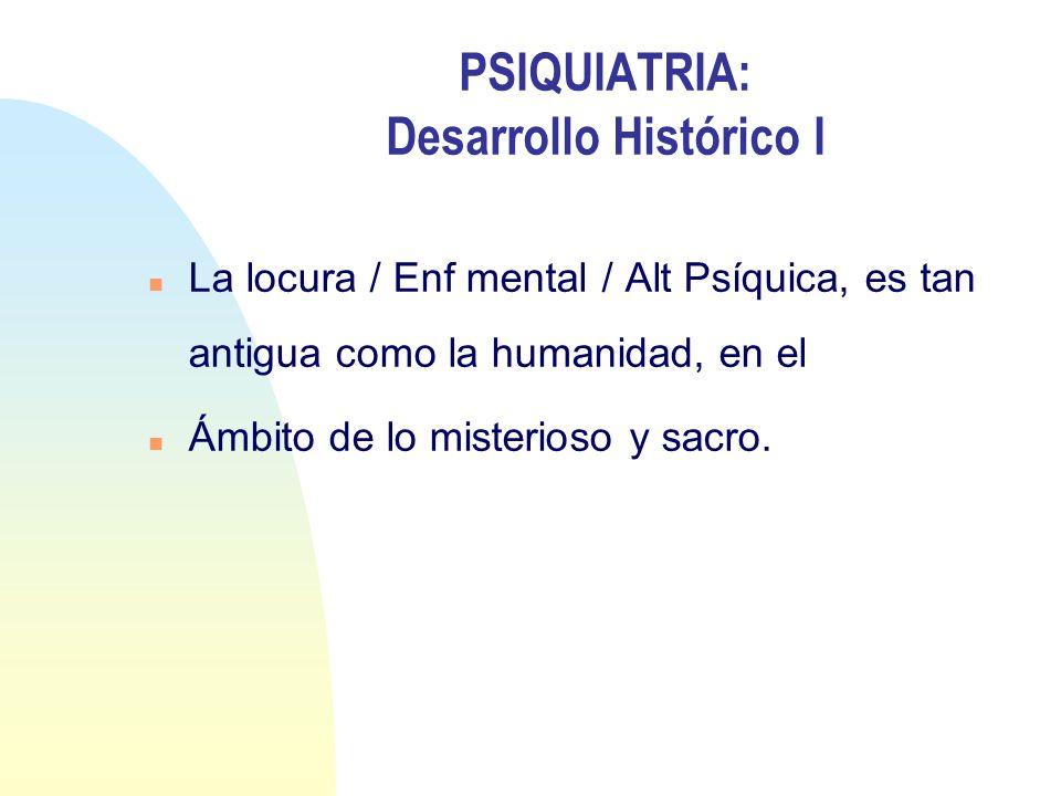 PSIQUIATRIA: Desarrollo Histórico I