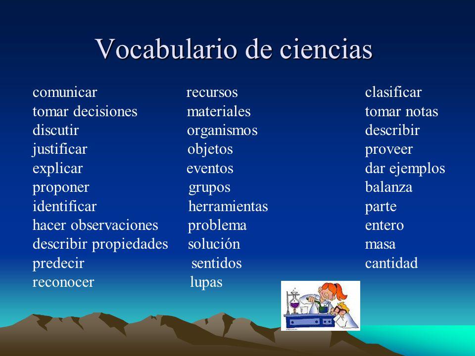 Vocabulario de ciencias
