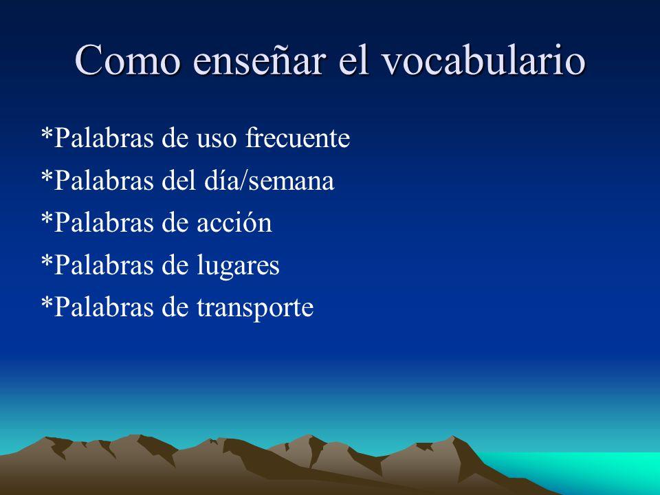 Como enseñar el vocabulario