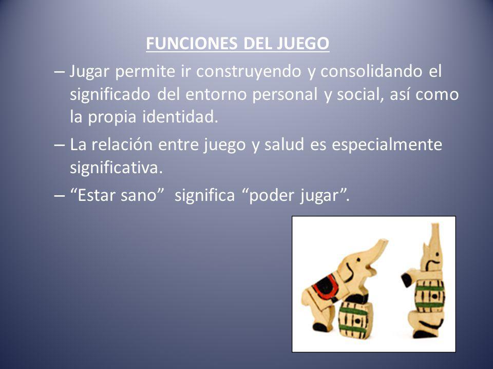 FUNCIONES DEL JUEGO Jugar permite ir construyendo y consolidando el significado del entorno personal y social, así como la propia identidad.