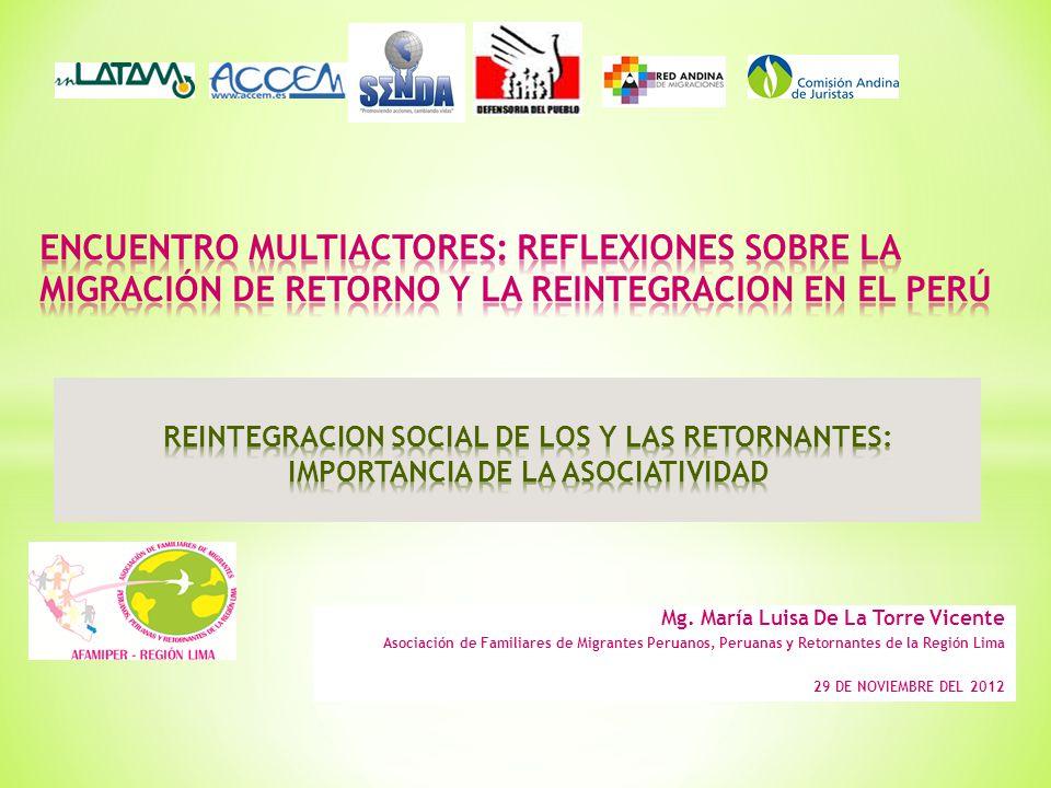 ENCUENTRO MULTIACTORES: REFLEXIONES SOBRE LA MIGRACIÓN DE RETORNO Y LA REINTEGRACION EN EL PERÚ