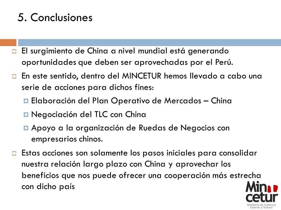 5. Conclusiones El surgimiento de China a nivel mundial está generando oportunidades que deben ser aprovechadas por el Perú.