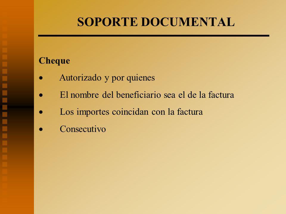 SOPORTE DOCUMENTAL Cheque · Autorizado y por quienes
