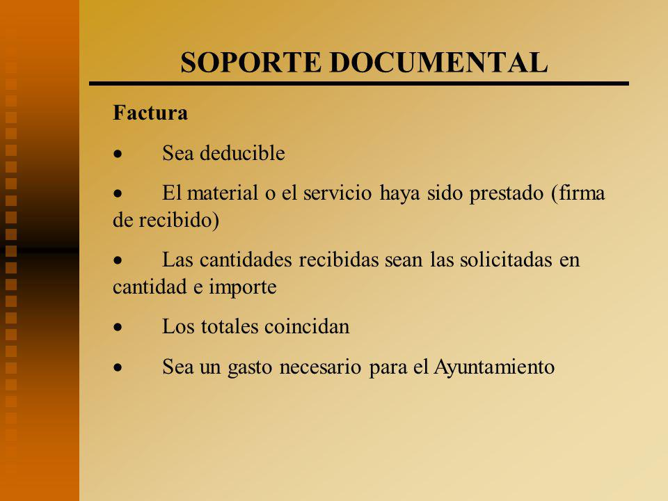 SOPORTE DOCUMENTAL Factura · Sea deducible