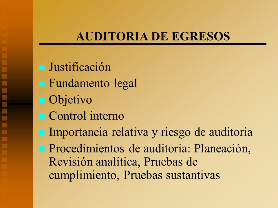 AUDITORIA DE EGRESOS Justificación. Fundamento legal. Objetivo. Control interno. Importancia relativa y riesgo de auditoria.