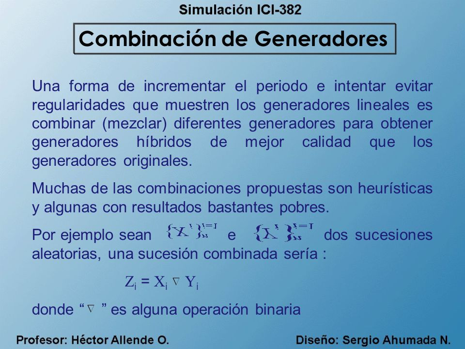 Combinación de Generadores