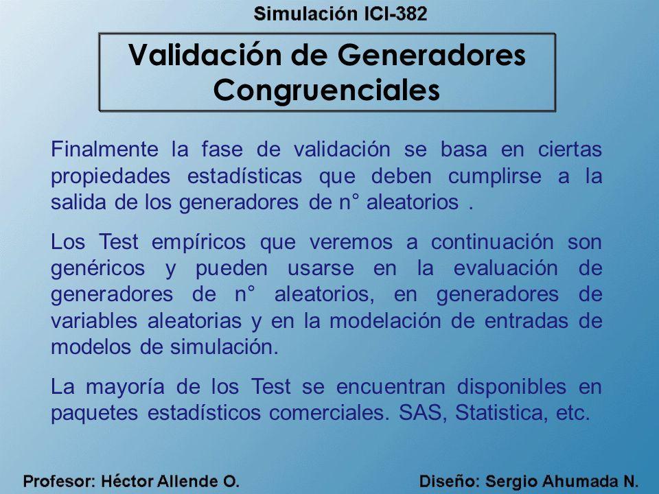Validación de Generadores Congruenciales