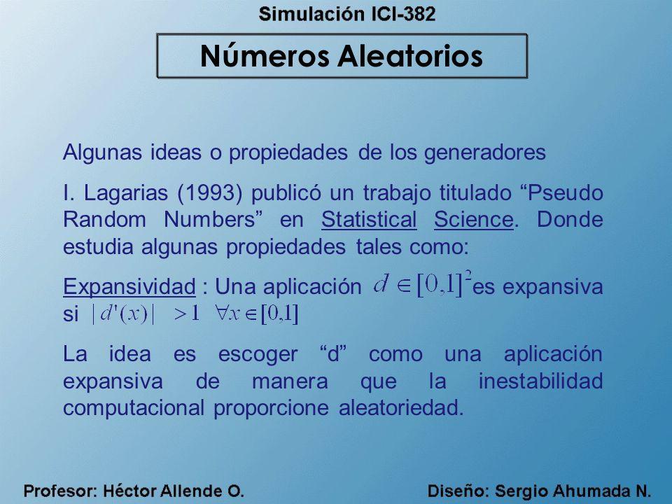 Números Aleatorios Algunas ideas o propiedades de los generadores