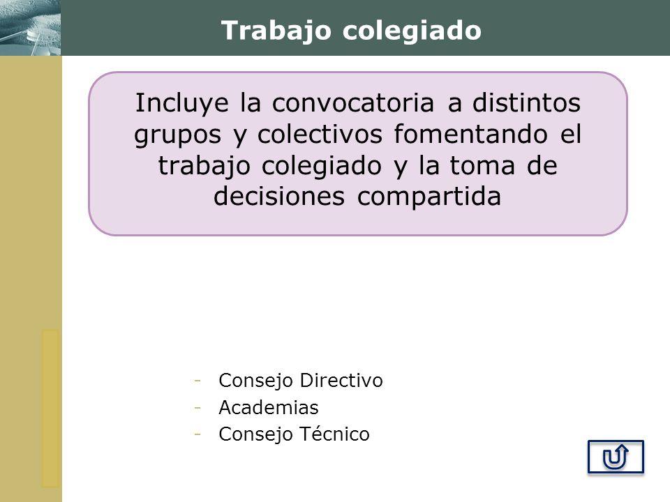 Trabajo colegiado Incluye la convocatoria a distintos grupos y colectivos fomentando el trabajo colegiado y la toma de decisiones compartida.