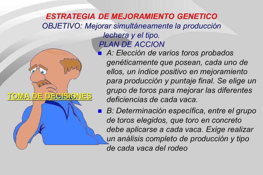 ESTRATEGIA DE MEJORAMIENTO GENETICO OBJETIVO: Mejorar simultáneamente la producción lechera y el tipo. PLAN DE ACCION