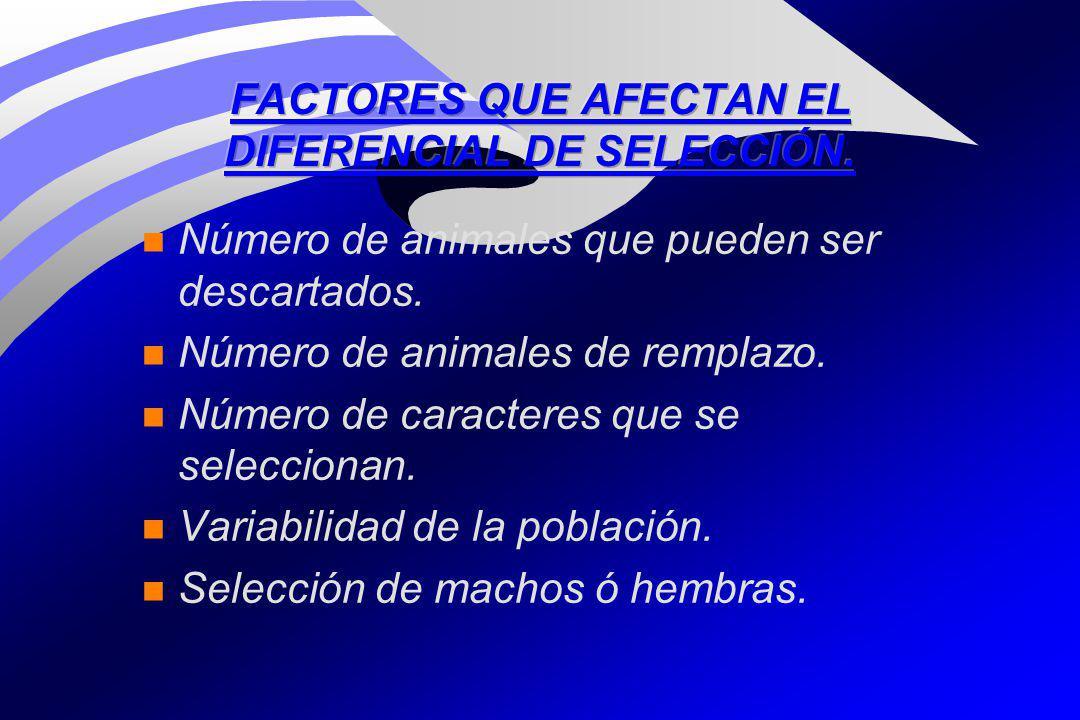 FACTORES QUE AFECTAN EL DIFERENCIAL DE SELECCIÓN.