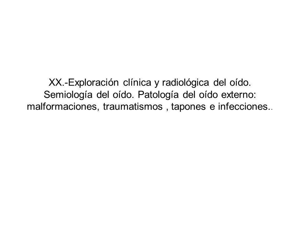 XX. -Exploración clínica y radiológica del oído. Semiología del oído