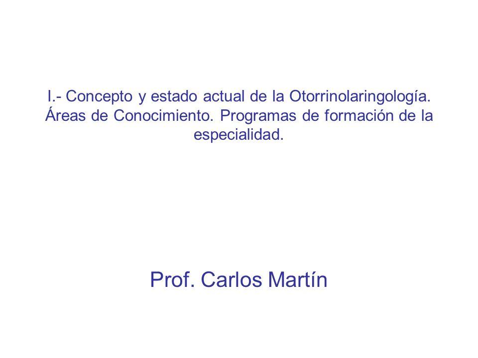 I. - Concepto y estado actual de la Otorrinolaringología
