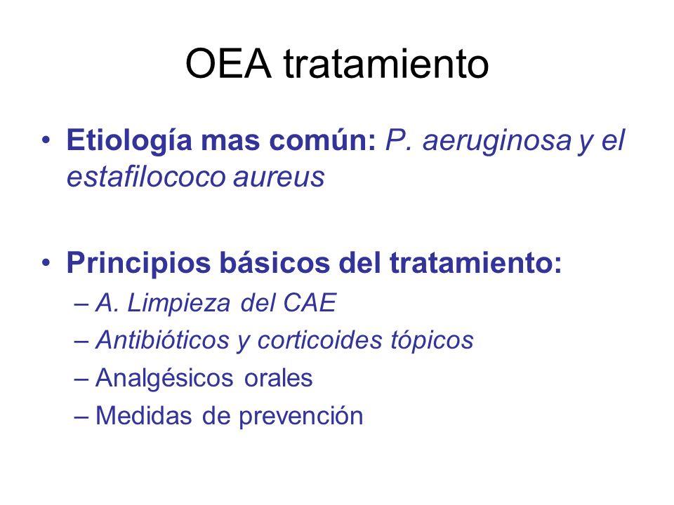 OEA tratamiento Etiología mas común: P. aeruginosa y el estafilococo aureus. Principios básicos del tratamiento: