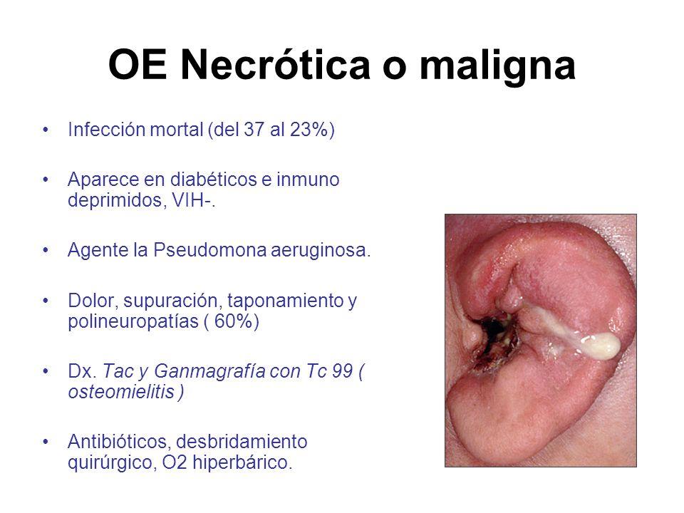 OE Necrótica o maligna Infección mortal (del 37 al 23%)