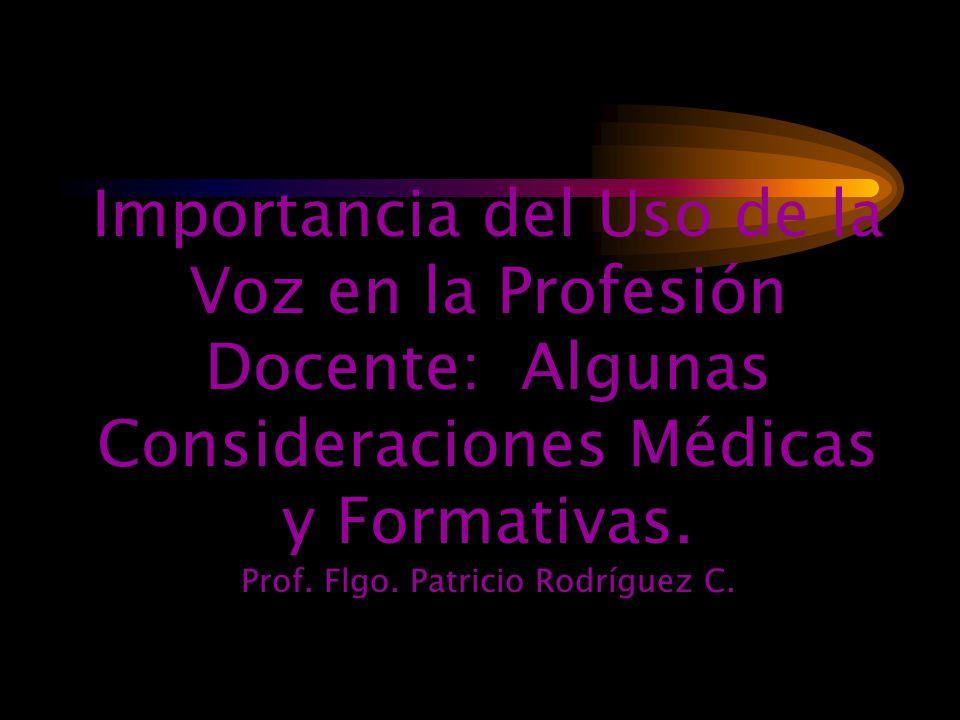 Importancia del Uso de la Voz en la Profesión Docente: Algunas Consideraciones Médicas y Formativas.