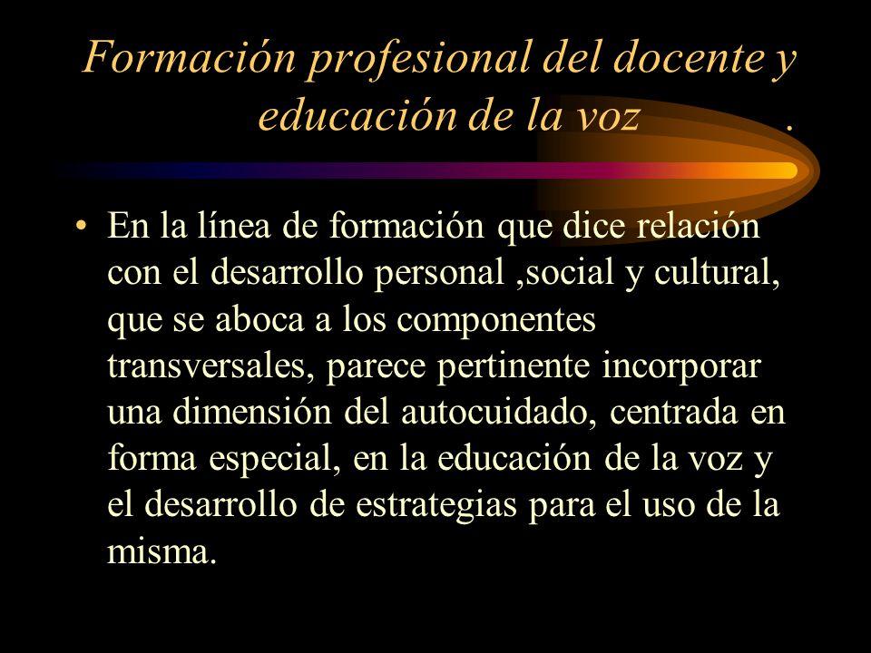 Formación profesional del docente y educación de la voz .