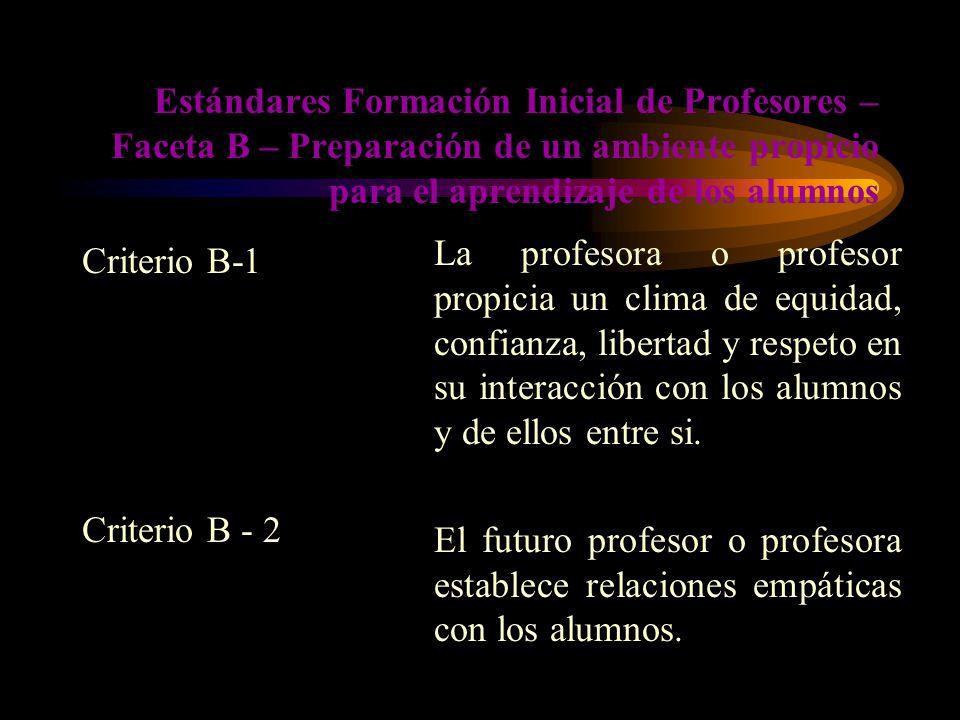 Estándares Formación Inicial de Profesores – Faceta B – Preparación de un ambiente propicio para el aprendizaje de los alumnos