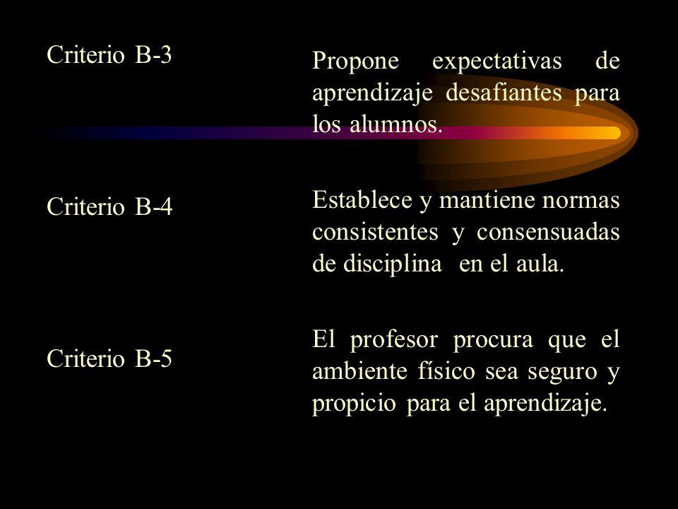 Criterio B-3 Criterio B-4. Criterio B-5. Propone expectativas de aprendizaje desafiantes para los alumnos.