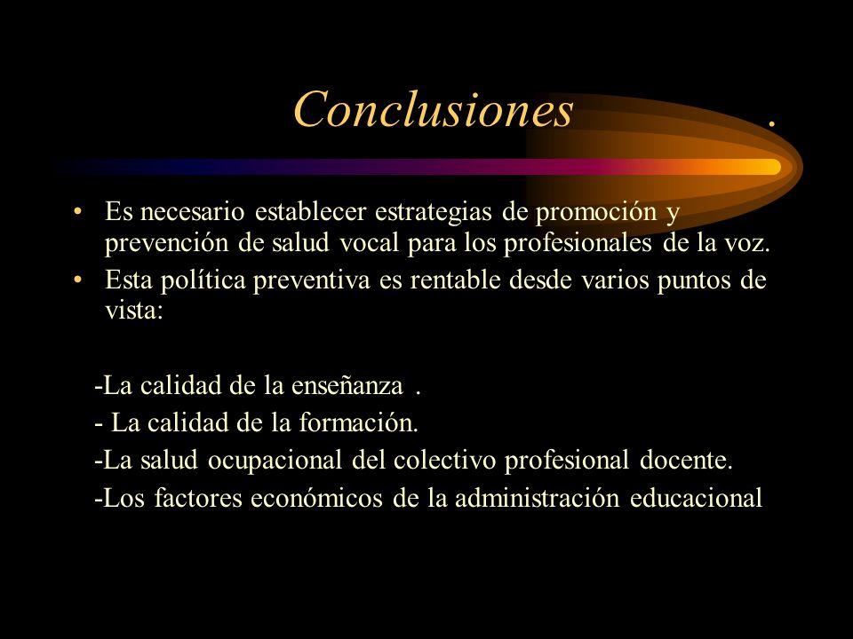 Conclusiones . Es necesario establecer estrategias de promoción y prevención de salud vocal para los profesionales de la voz.