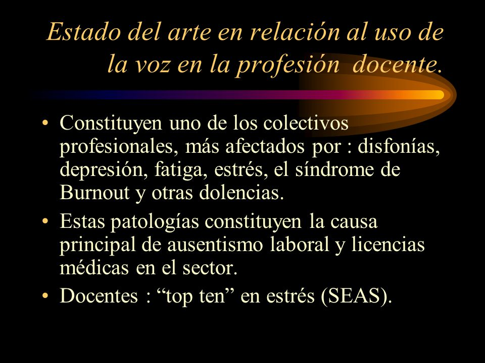 Estado del arte en relación al uso de la voz en la profesión docente.