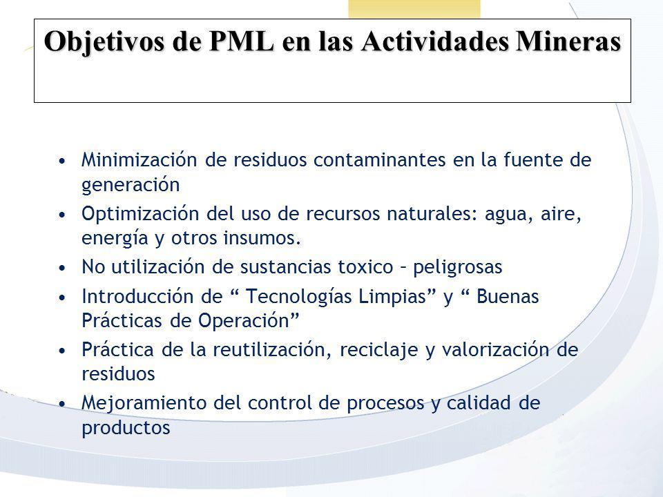 Objetivos de PML en las Actividades Mineras