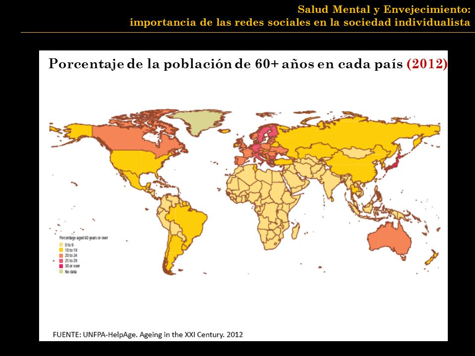 Porcentaje de la población de 60+ años en cada país (2012)