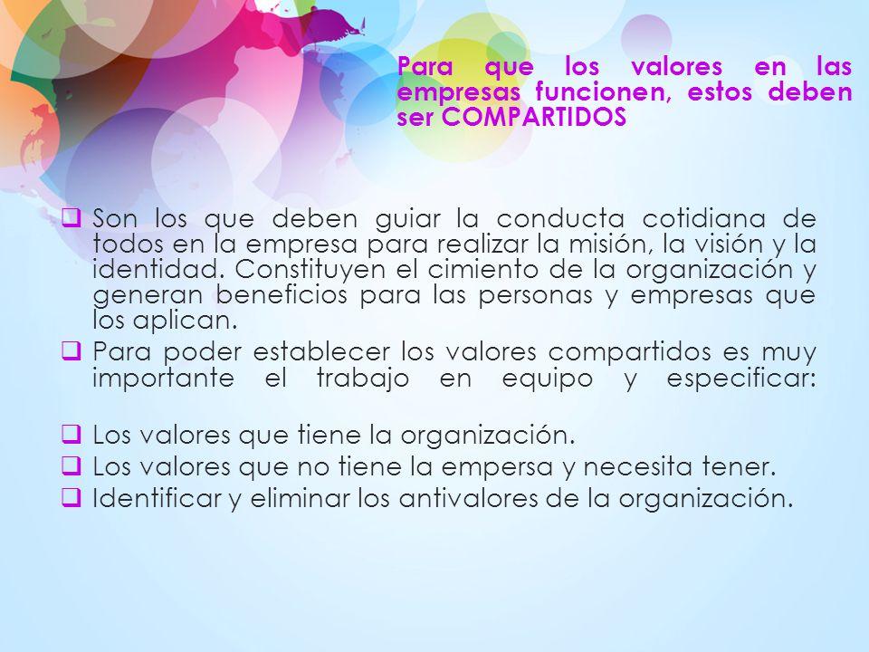 Los valores que tiene la organización.