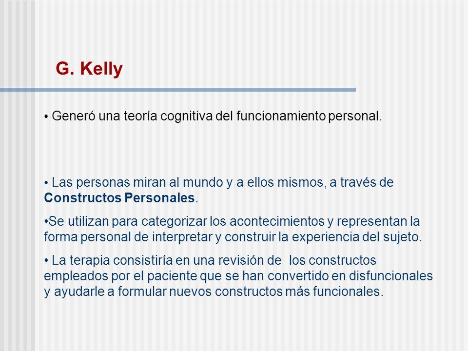 G. Kelly Generó una teoría cognitiva del funcionamiento personal.