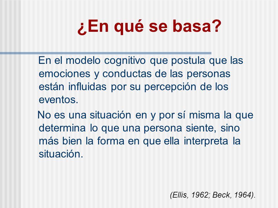 ¿En qué se basa En el modelo cognitivo que postula que las emociones y conductas de las personas están influidas por su percepción de los eventos.