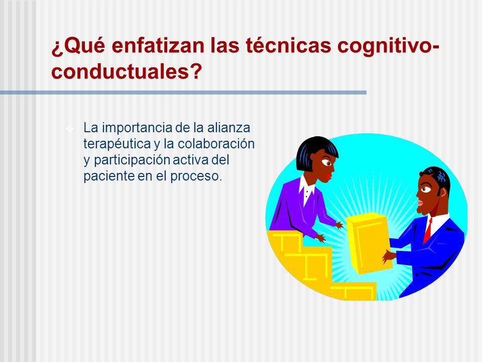 ¿Qué enfatizan las técnicas cognitivo-conductuales