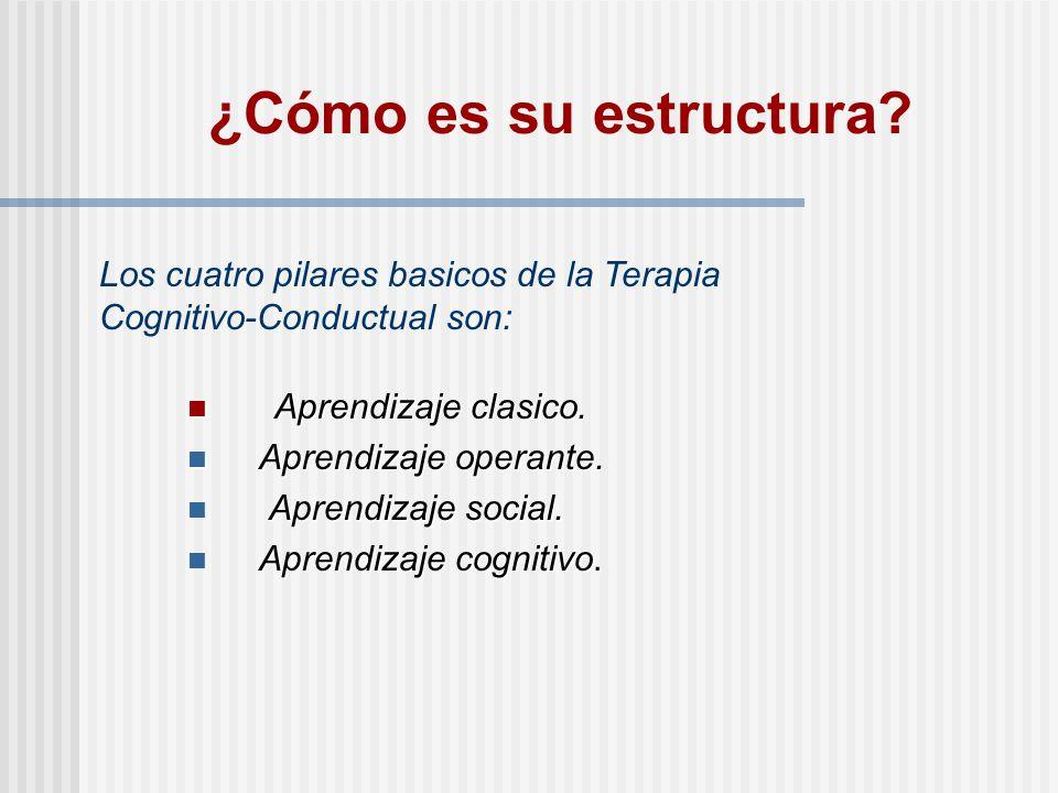 ¿Cómo es su estructura Los cuatro pilares basicos de la Terapia Cognitivo-Conductual son: Aprendizaje clasico.