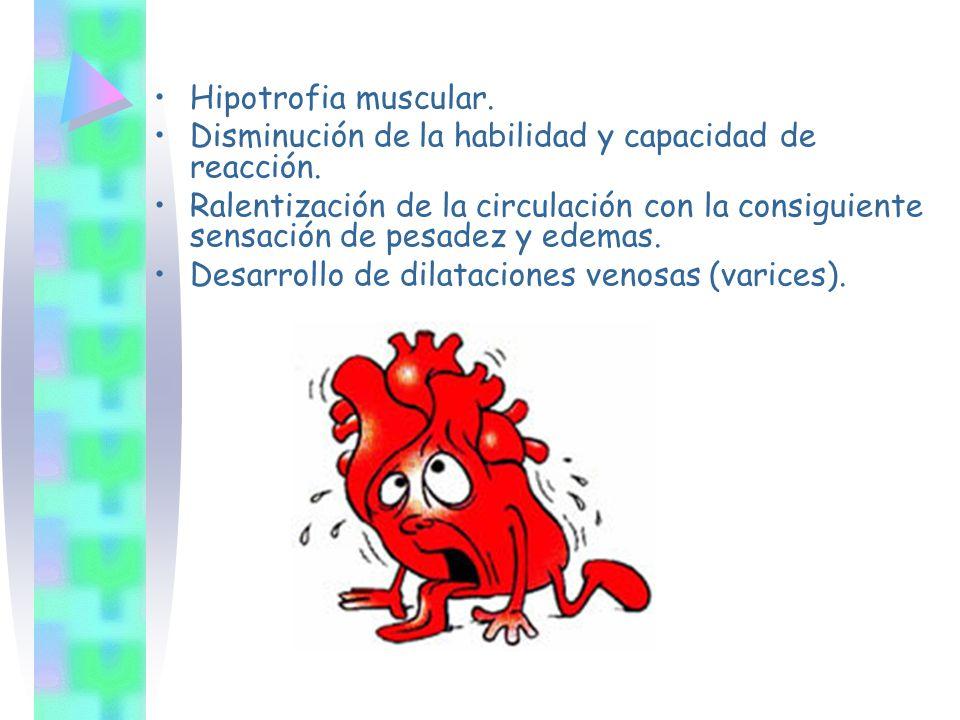 Hipotrofia muscular. Disminución de la habilidad y capacidad de reacción.