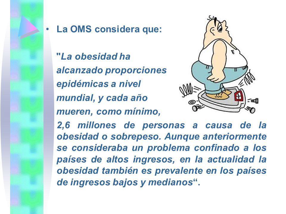 La OMS considera que: La obesidad ha. alcanzado proporciones. epidémicas a nivel. mundial, y cada año.