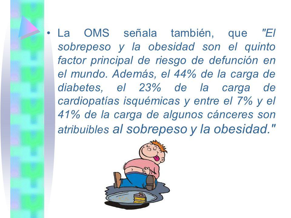 La OMS señala también, que El sobrepeso y la obesidad son el quinto factor principal de riesgo de defunción en el mundo.