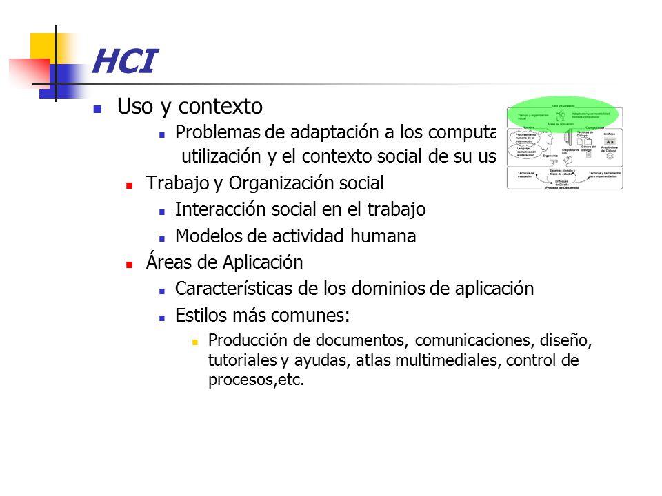 HCI Uso y contexto Problemas de adaptación a los computadores, su