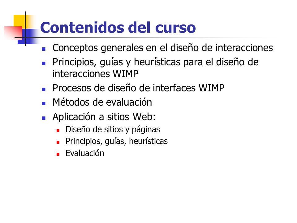 Contenidos del curso Conceptos generales en el diseño de interacciones