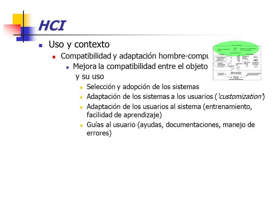 HCI Uso y contexto Compatibilidad y adaptación hombre-computador