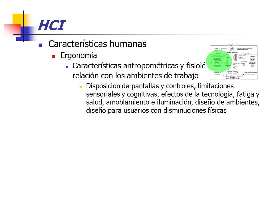 HCI Características humanas Ergonomía