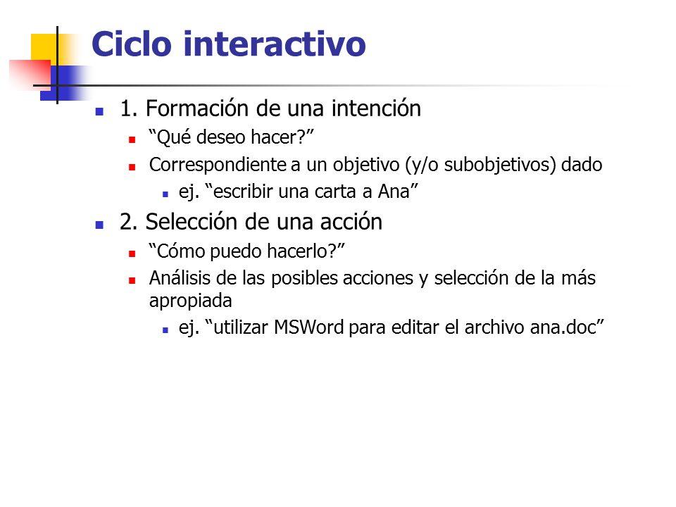 Ciclo interactivo 1. Formación de una intención