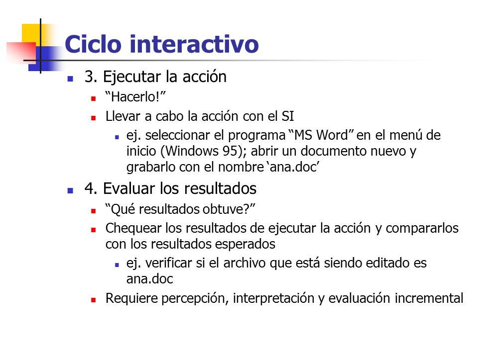 Ciclo interactivo 3. Ejecutar la acción 4. Evaluar los resultados