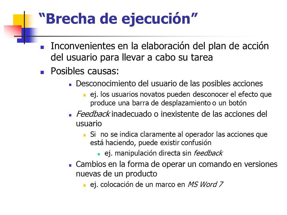 Brecha de ejecución Inconvenientes en la elaboración del plan de acción del usuario para llevar a cabo su tarea.