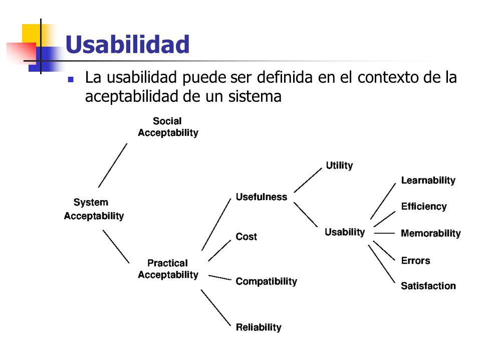 Usabilidad La usabilidad puede ser definida en el contexto de la aceptabilidad de un sistema