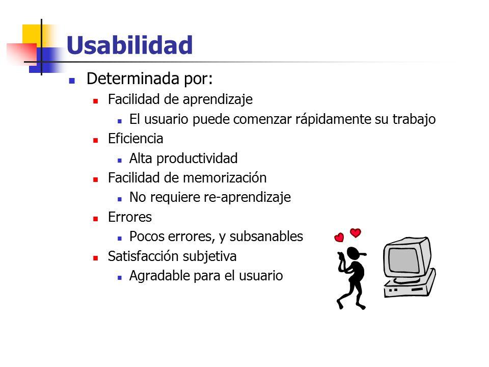 Usabilidad Determinada por: Facilidad de aprendizaje
