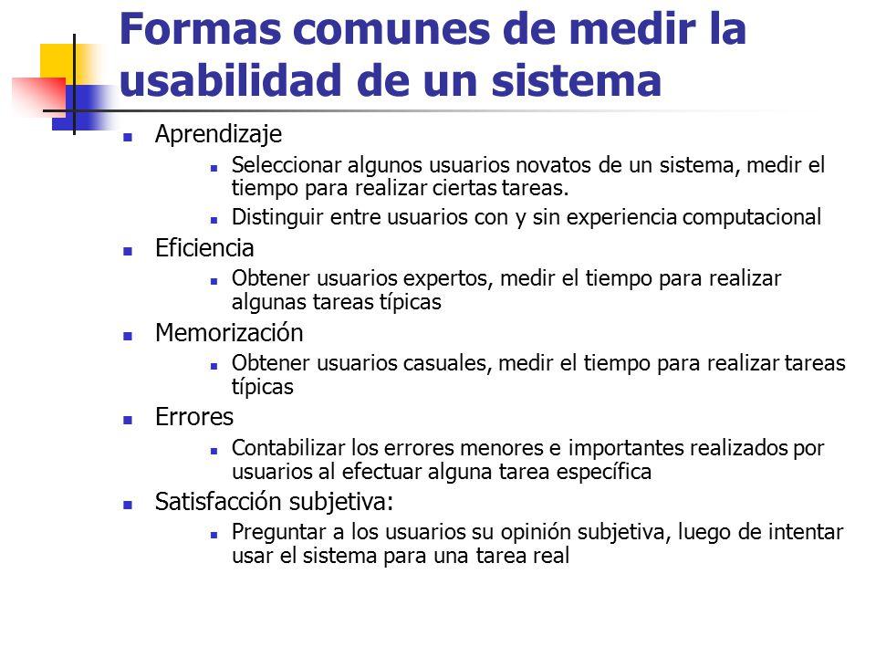 Formas comunes de medir la usabilidad de un sistema