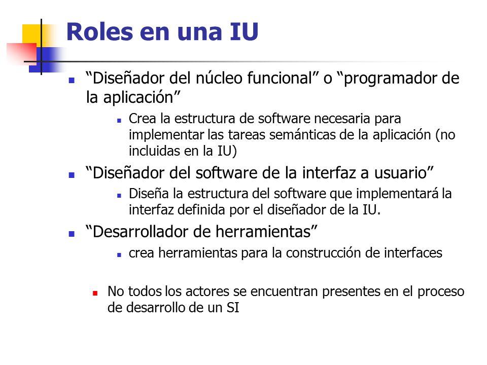 Roles en una IU Diseñador del núcleo funcional o programador de la aplicación