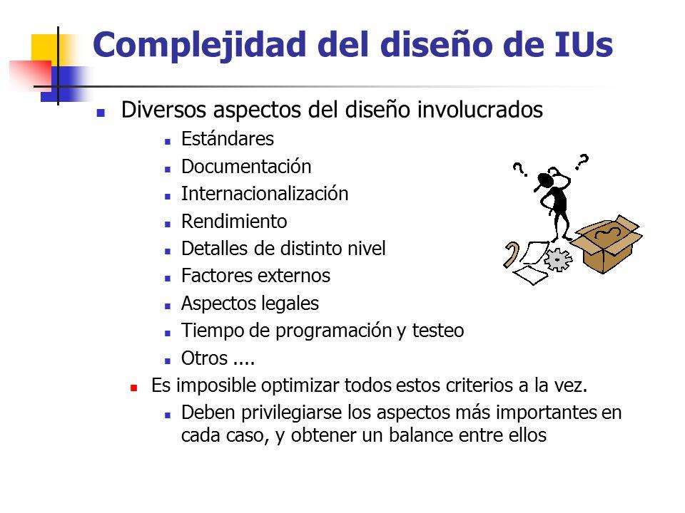 Complejidad del diseño de IUs