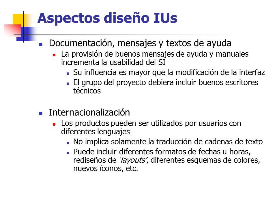 Aspectos diseño IUs Documentación, mensajes y textos de ayuda