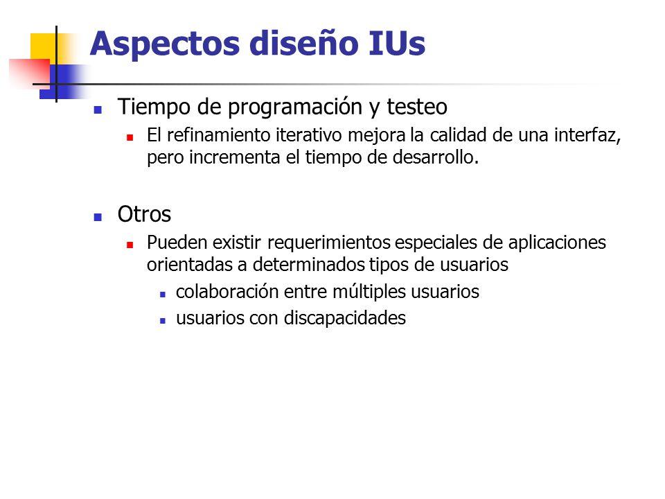 Aspectos diseño IUs Tiempo de programación y testeo Otros