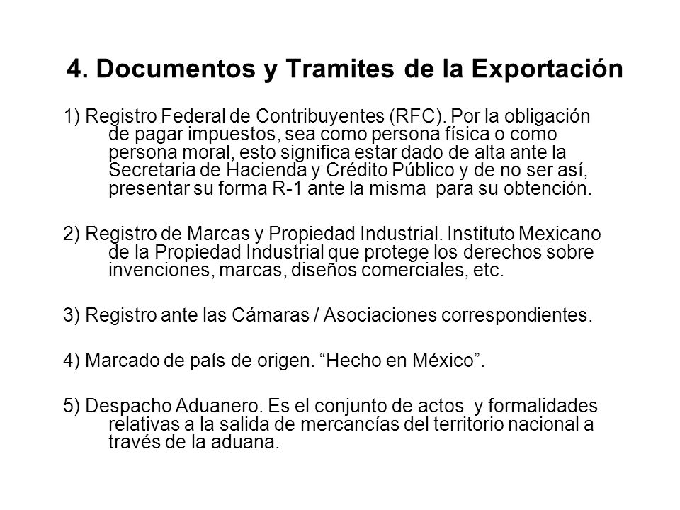 4. Documentos y Tramites de la Exportación